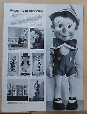 1939 magazine feature - Walt Disney's Pinocchio novelties, doll, pull toy, books