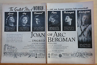 """1949 two page magazine ad for movie """"Joan of Arc"""", Ingrid Bergman emotion photos"""