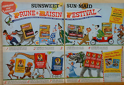 Vntage 1955 two page magazine ad for Sun Maid Raisins, Prunes - Circus theme art