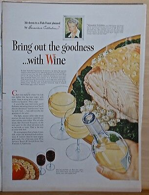 Vintage 1946 magazine ad for California Wine - Genevieve Callahan recommendation