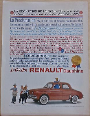 Vintage 1960 magazine ad for Renault - red Dauphine auto and parade of children