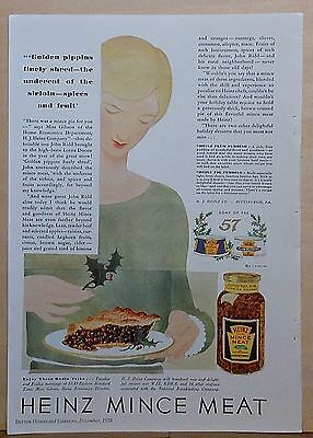 1930 magazine ad for Heinz Mince Meat - lovely color illustration woman with pie