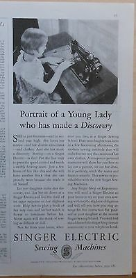 1930 magazine ad for Singer Sewing Machine - Electric, Young Lady made discovery