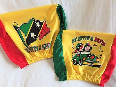 2pc St Kitts Headrest CAR Cover Seat Slip Flag Nevis West Indies Christopher