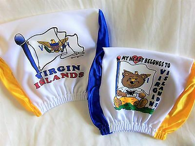 2pc Virgin Islands Headrest BEAR Cover Seat Slip Flag US VI Leeward Antilles