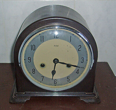 c1930 ANTIQUE SMITHS ENFIELD BAKELITE MANTLE CLOCK WITH CHIMES WORKING OK W/ KEY