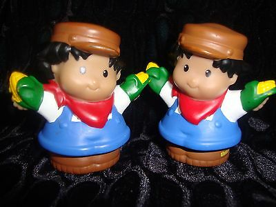 Fisher Price Little People - Lot Of Two - Hispanic Farmers - Holding Corn Cobs
