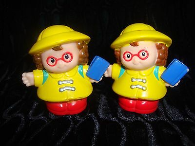 Lot Of Two - Fisher Price Little People - Two Girls With Glasses - In Rain Gear