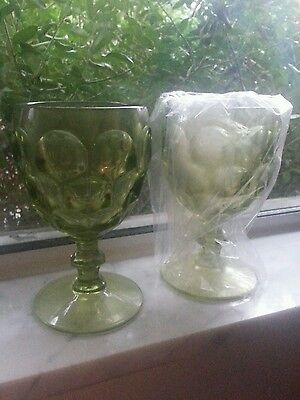 * TWO Green Goblets Chalets Wine Glass 70s Nice Vintage Antique *