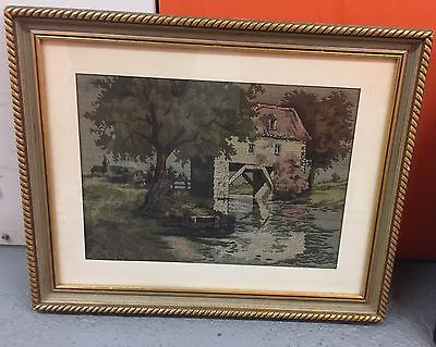 House On The River Fabric Textile Piece Framed Used