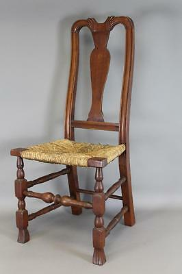 A Great 18Th C Ct Queen Anne Chair Bold Spanish Feet Carved Crest Old Red Wash