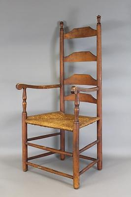 Rare Early 18Th C William & Mary Ct Four Slat Ladderback Armchair In Old Surface
