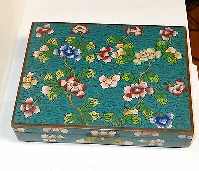Chinese Cloisonne Turquoise Enamel Floral Humidor Jar Box