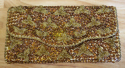Vintage Gold Copper Hand Beaded Sequin Clutch Evening Bag Purse