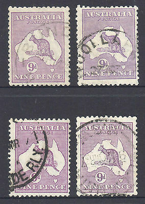 Kangaroo - 9d Purple, CofA Watermark x 4, Used