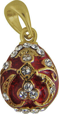 Faberge Egg Pendant / Charm with crystals 1.5 cm red #0964