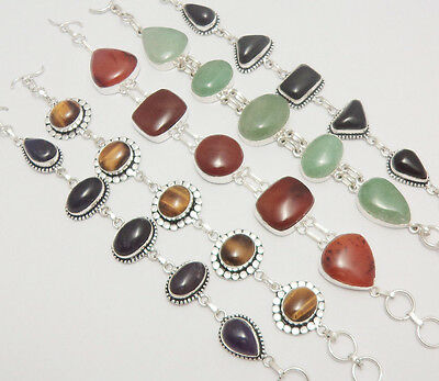 Christmas Gift Mix Gemstone 5Pcs 925 Sterling Silver Overlay Beautiful Bracelets