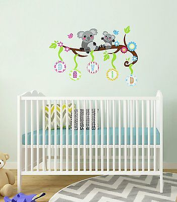 Halo-Decals Koala Alphabet Personalized Baby Name Wall Sticker For Nursery Rooms