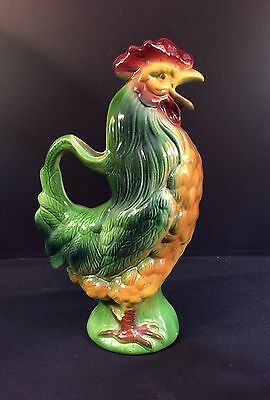 St. Clements--Rooster Majolica Pitcher--Excellent Condition--Buy It Now!~