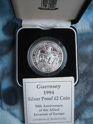 Guernsey 1994 £2 Pound Silver Proof Coin WW II Invasion Of Europe Normandy D-Day