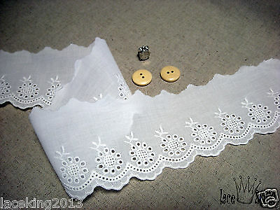 "3Yds Embroidery scalloped cotton eyelet lace trim 2.2""(7cm) YH1152 laceking2013"