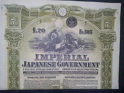 1 Imperial JAPANESE 1907 de 20 £ + coupons