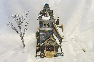 Dept 56 Dickens Village St. Stephen's Church & Tree #58722 Not Working Flaws