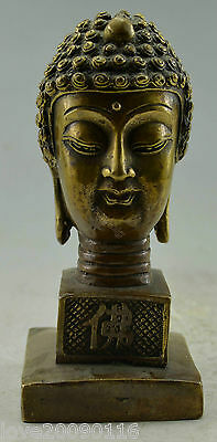 Collectible Decorated Old Handwork Copper Carved Buddha Head Seal Statue