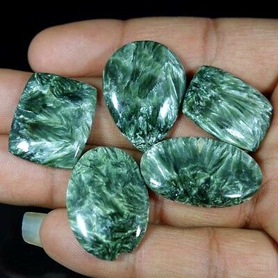 111.05cts NATURAL LOVELY GREEN SERAPHINITE MIX CABOCHON WHOLESALE LOT GEMSTONE