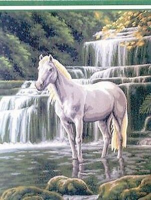 Horse At The Waterfall Tapestry Canvas (30cm x 40cm) Collection D Art - 10428