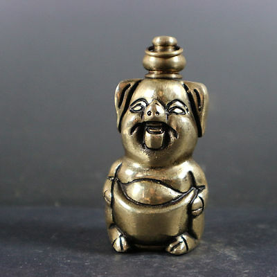 old china delicate superb copper snuff bottle carved delicate cute pig shape