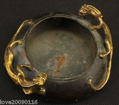 Collectible Decorated Old Handwork Bronze Carved Brave troops Ashtray Pot