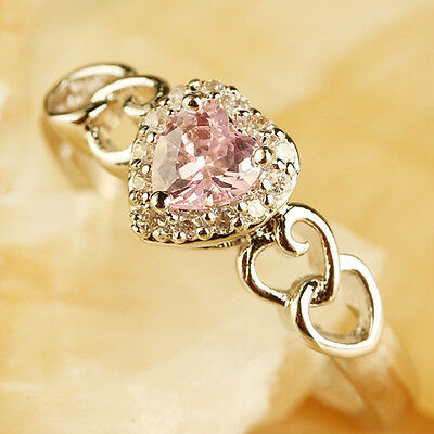 Heart Pink Topaz Gemstone Silver Plated Fashion Women Engagement Band Ring Sz 7