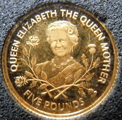 GUERNSEY 1995 QUEEN MOTHER 95th BIRTHDAY £5 24 CARAT GOLD PROOF mint coin
