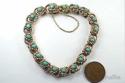 ANTIQUE ENGLISH LATE VICTORIAN 15K GOLD TURQUOISE FLORAL LINK BRACELET c1890