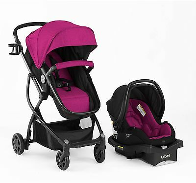 Baby Stroller Car Seat Cradle Bassinet Carriage Travel System Girls Pink Berry