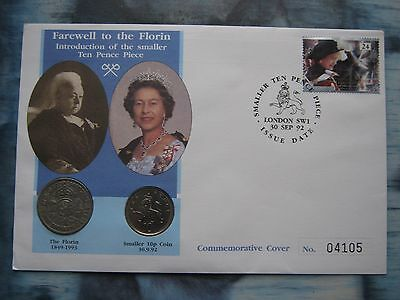 UK British 1992 Farewell To Florin 1948 & 1992 New 10 Pence coin & stamp cover
