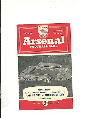 1960/61 FA Cup 3rd round second replay  CARDIFF  V  MANCHESTER CITY