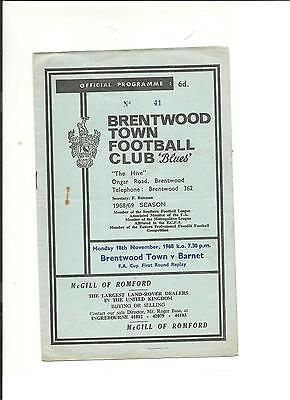 1968/69 FA Cup  1st round replay Brentwood Town v Barnet