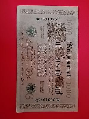 1910 OLD GERMANY BANKNOTE 1000 Marks