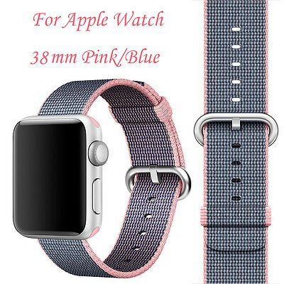 New Royal Woven Nylon Royal  Sport Band Strap For Apple Watch 38mm Blue/Pink