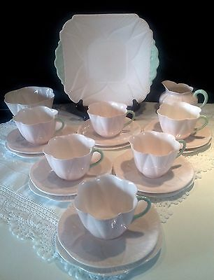 Shelley Dainty 21pc Tea Set - Soft Pink with Mint Green Handle - 13567