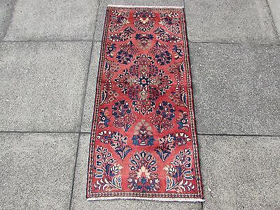 Old Traditional Hand Made Persian Oriental  Wool Pink Rug Short Runner 120x55cm