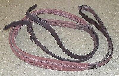Brown rubber grip reins, English leather, Equus