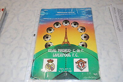 European Cup Final Programme - Paris 1981' Liverpool Vs. Real Madrid