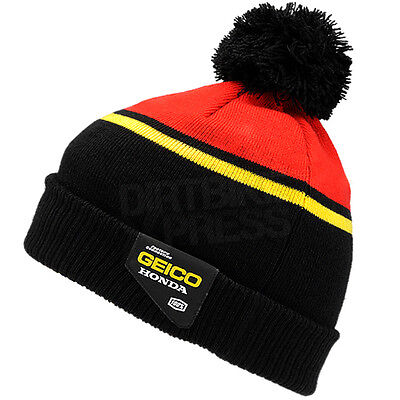 New 100% Geico Honda Motocross Casual Rev Beanie Red One Size