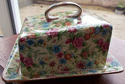 """Vintage Royal Winton Chintz """"kew"""" Pattern Lidded Butter Dish Excellent Condition"""