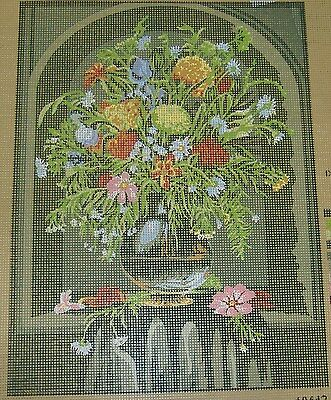 "Floral Vase Tapestry/Needlepoint Canvas - 11.75"" x 15.75"