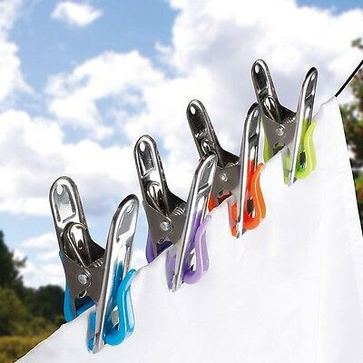 Pk of 40 Stainless Steel Clothes Washing Line Pegs w/Plastic Pads (Rust Proof)
