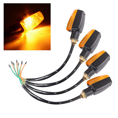 4x Universal Motorcycle Motorbike Turn Signal Indicators Amber Light 12V MA865